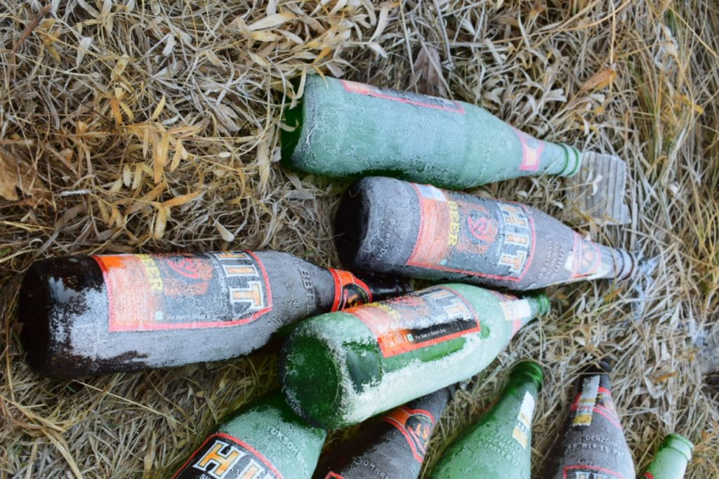 Beer bottles thrown by visitors at Tiger Hill, Darjeeling