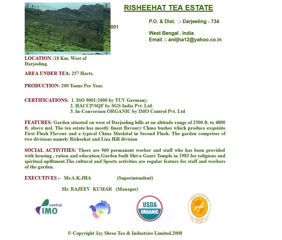Risheehat Tea Darjeeling