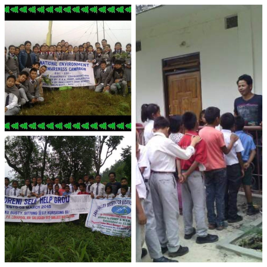 Bishnu Thapa celebrating Environment Day with students