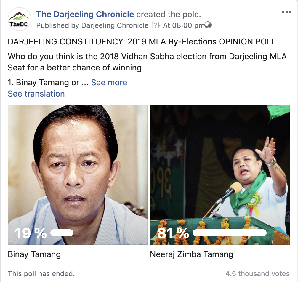 Darjeeling exit polls Elections 2019