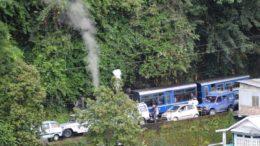 Toy Train caught in a traffic jam in Darjeeling