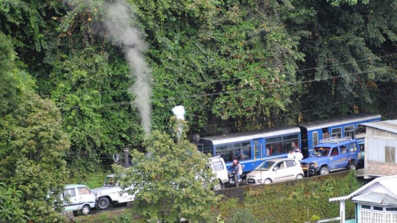 Toy Train caught in a traffic jam in Darjeeling