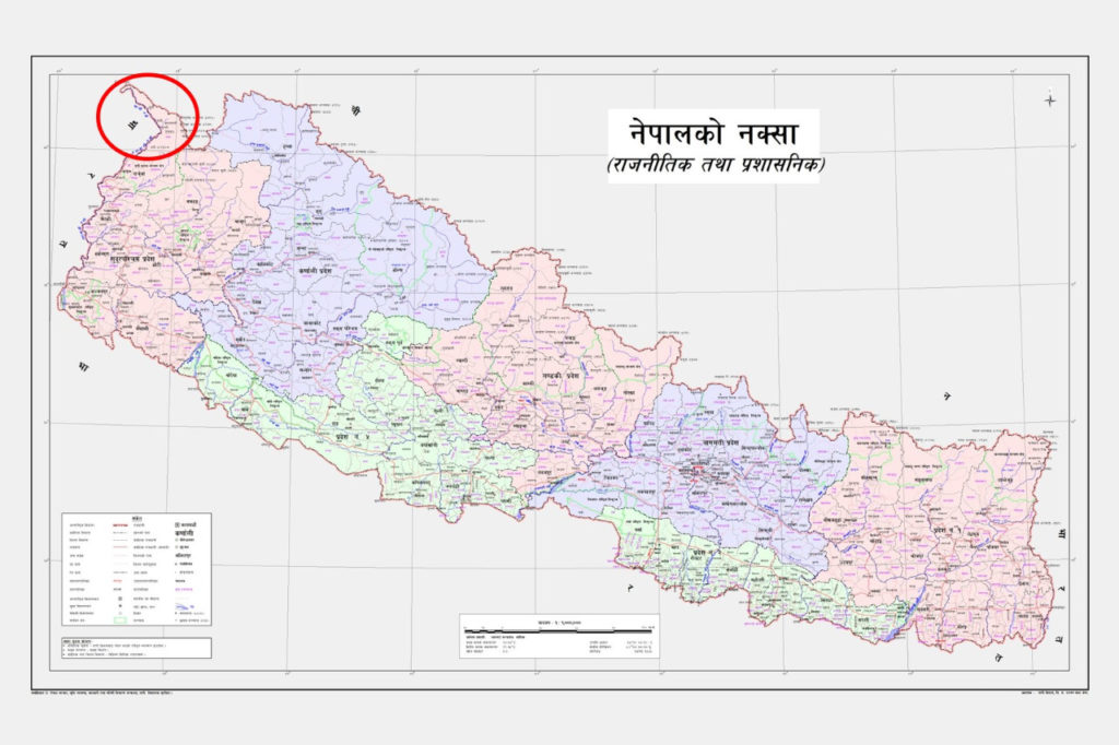 new official map released by the Nepali Government